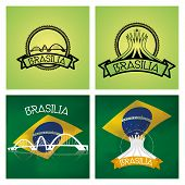 foto of brasilia  - a set of labels and backgrounds with famous places in brasilia - JPG
