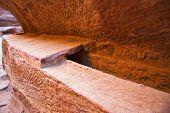 pic of aqueduct  - Ancient aqueduct in Siq canyon Petra Jordan - JPG