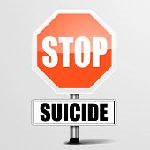 image of suicide  - detailed illustration of a red stop Suicide sign - JPG