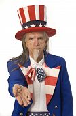 picture of uncle  - Uncle Sam on a white background with his palm outstretched - JPG