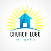 stock photo of church  - Template logo church as the church building on the background glow - JPG