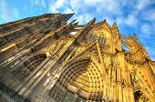 picture of koln  - Facade of the Dom church in the city Cologne with blue sky and evening sun - JPG