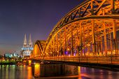 image of koln  - Cityscape of Cologne from the Rhine river at night time - JPG