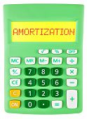 stock photo of amortization  - Calculator with AMORTIZATION on display isolated on white background - JPG