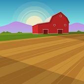 stock photo of farm landscape  - The red farm barn background - JPG
