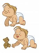 pic of crawl  - Funny vector cartoon colorfull crawling baby and teddy - JPG