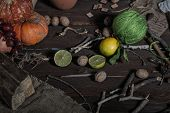 stock photo of thread-making  - Still life of ingredients for making potions witch - JPG