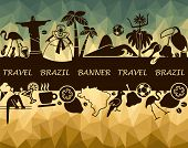 stock photo of carnival brazil  - Banner with traditional symbols of culture and the nature of Brazil - JPG