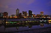 stock photo of memphis tennessee  - Downtown Memphis Tennessee at Night with Marina - JPG