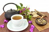 picture of naturopathy  - a cup of herbal tea and Chinese medicinal herbs