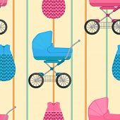 picture of buggy  - seamless pattern of baby sleeping bags and buggies with vertical stripes - JPG