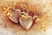 pic of two hearts  - Two gold hearts - JPG