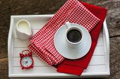 foto of continental food  - Cup of black coffee with milk and Good morning note - JPG
