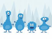 picture of monsters  - A set of cute blue monsters standing on ice - JPG