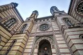 picture of synagogue  - The Great Synagogue or The Dohany Street Synagogue in Budapest Hungary on a cloudy winter day - JPG