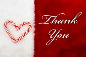 picture of thankful  - Thank You A plush red stocking with a Candy Canes Heart and words Thank You - JPG
