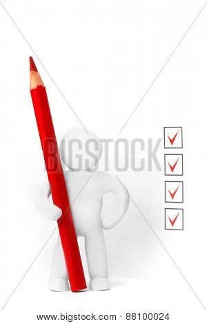 Plasticine man and filled check boxes isolated on white background