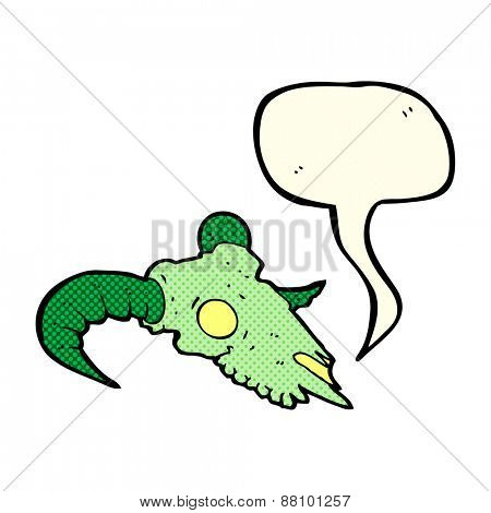 cartoon magic ram skull with speech bubble