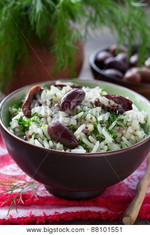 Rice with olives and fresh herbs