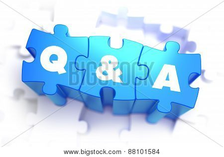 Question and Answer - Text on Blue Puzzles.