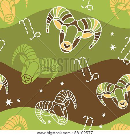 Capricorn - Zodiac seamless pattern