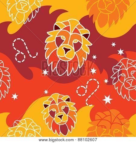 Leo - Zodiac seamless pattern
