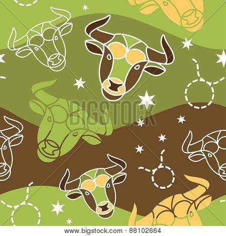Taurus - Zodiac seamless pattern