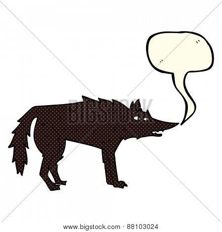 cartoon wolf with speech bubble
