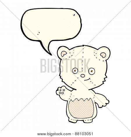 cartoon little polar bear waving with speech bubble