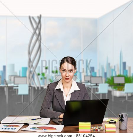 Attractive young woman working