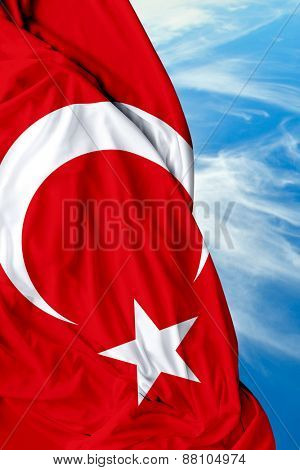 Turkish waving flag on a beautiful day