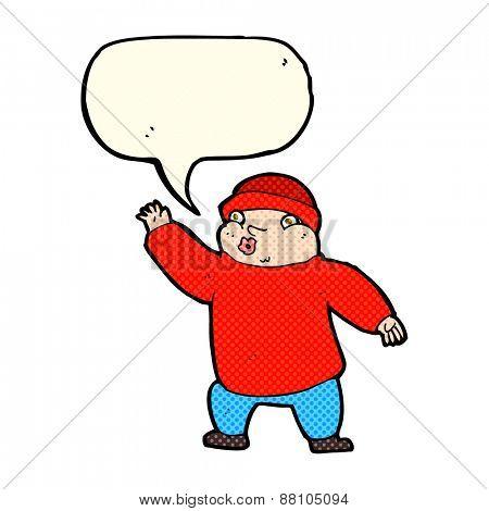 cartoon man in hat waving with speech bubble