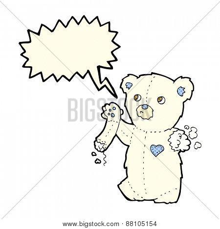cartoon teddy polar bear with torn arm with speech bubble