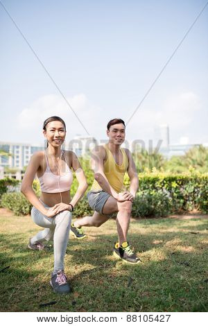Exercising in the park