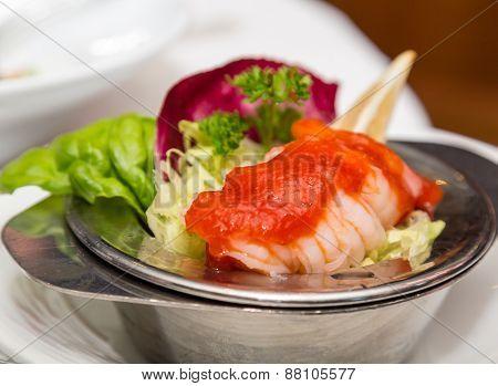 Cocktail Sauce On Shrimp Cocktail