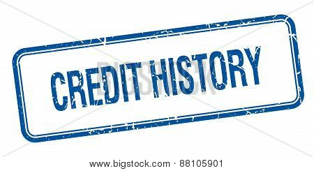 Credit History Blue Square Grungy Vintage Isolated Stamp