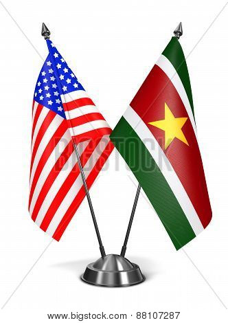 USA and Suriname - Miniature Flags.