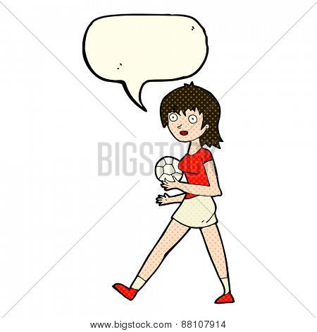 cartoon soccer girl with speech bubble