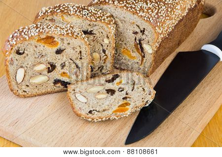 Cut Bread With Fruit And Nuts