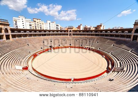 Internal view of the bullring in Mallorca.