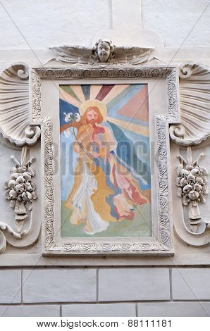 GRAZ, AUSTRIA - JANUARY 10, 2015: Saint Joseph fresco painting on the house facade in Graz, Styria, Austria on January 10, 2015.