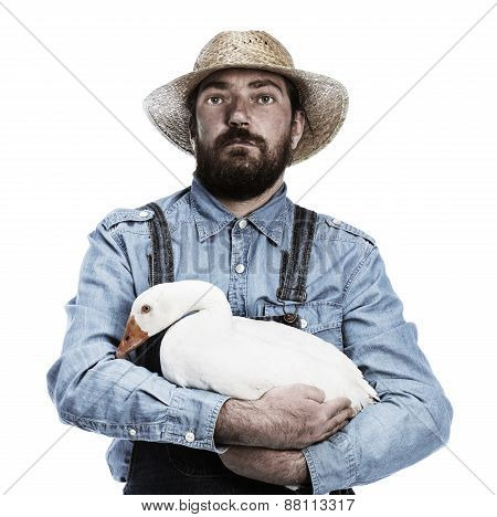 Farmer With Goose