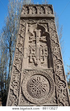 Khachkar In Echmiadzin (vagharshapat) Made Of Tufa ,medieval Christian Art,armenia, Caucasus, Unesco