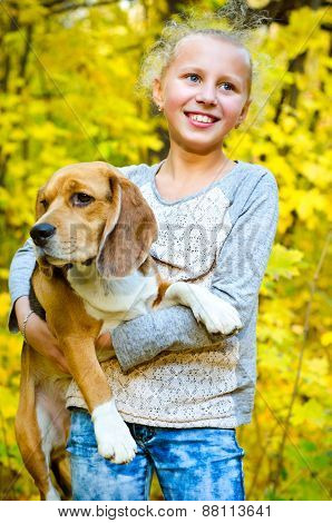 Girl With Beagle