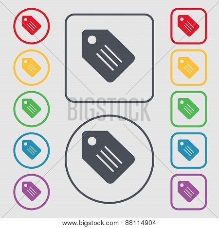 Special Offer Label Icon Sign. Symbol On The Round And Square Buttons With Frame. Vector