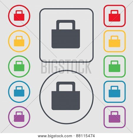 Sale Bag Icon Sign. Symbol On The Round And Square Buttons With Frame. Vector