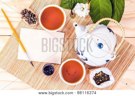 chinese set tea on wooden table, top view