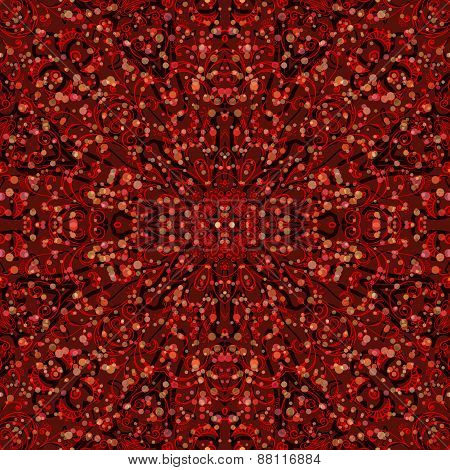 Red Abstract Floral Seamless Pattern