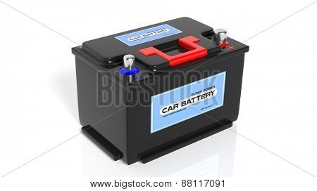 Car battery, isolated on white background