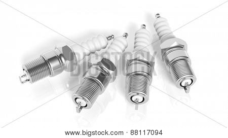 Car spark plugs, isolated on white background